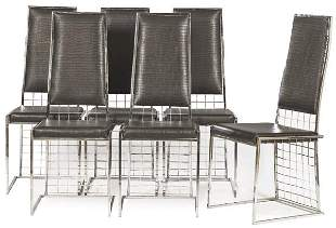 Set of six Milo Baughman style chairs with chromed