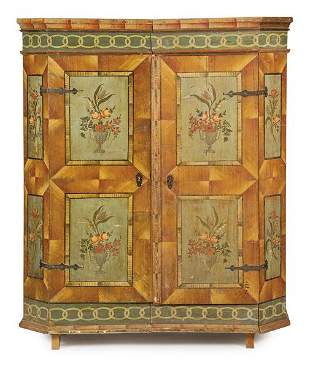 Cabinet with two bodies in pine wood, decorated with