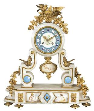 Louis XVI table clock in gilt marble with gilt bronze