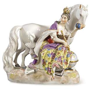 Queen with horse, group of painted and enameled