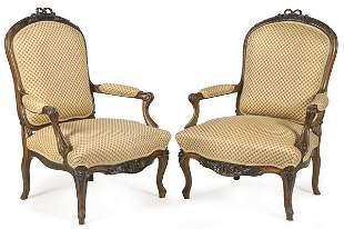 Pair of Napoleon III armchairs, Louis XV style in