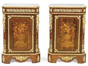 Pair of Napoleon III mezzanines in mahogany and