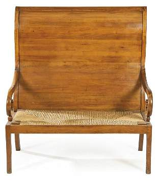 Fernandino bench with high back in mahogany wood and