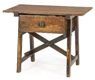 Table with drawer in the front in pine wood. Spain