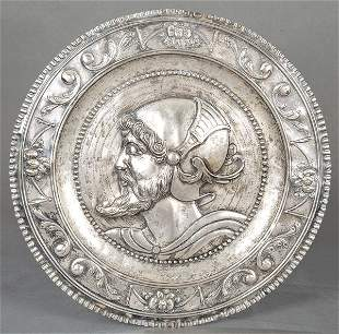 Large circular tray of punched silver (unidentified
