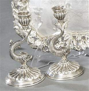 Pair of punched Spanish silver candlesticks of Durá