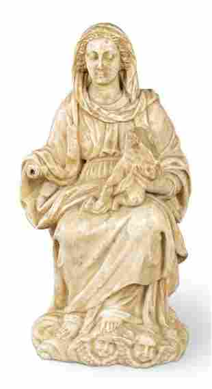 Virgin with Child carved in alabaster, Italy 17th