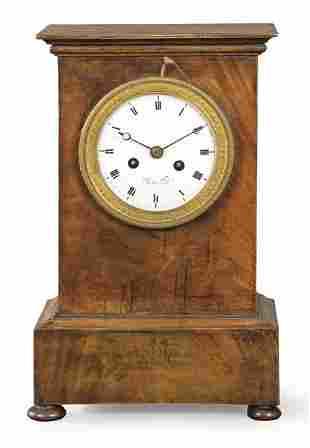 Empire table clock with mahogany wood case and mahogany