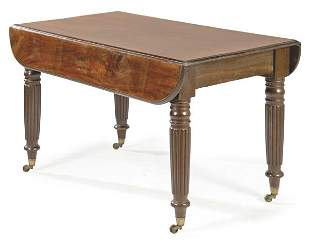 Victorian winged dining table in mahogany wood, with