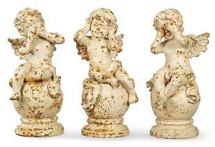 Set of three angels for garden in cast iron painted in