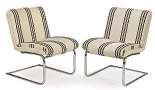 Pair of armchairs with chromed metal frame, upholstered