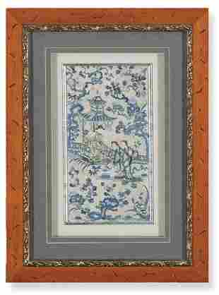 Blue embroidered silk fragment with characters, China