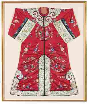 Chinese silk jacket with embroidery, Qing Dynasty end