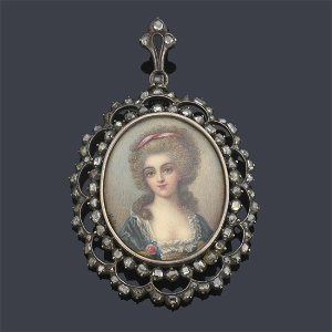 Hand-painted miniature with portrait of a French lady