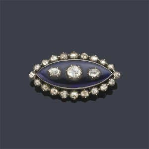 Ogival shaped brooch with Dutch cut diamonds and blue