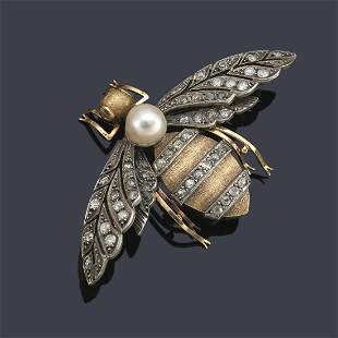 Bumblebee-shaped brooch with old-cut and pink diamonds