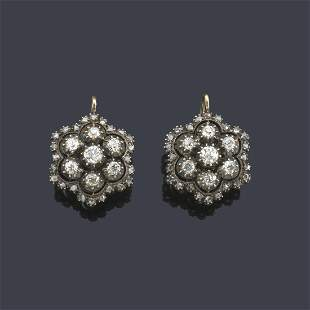 Short rosette earrings with antique and rose cut