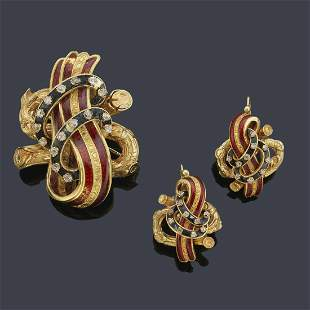Earrings and brooch with band motifs in red and blue