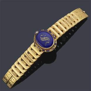 Bracelet with hidden watch in 18K yellow gold frame