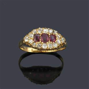 Ring with three rubies and old-cut diamonds set in