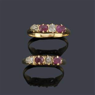 Two rings with an antique cut ruby and