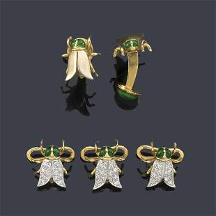 LUIS GIL Cufflinks and fly-shaped buttons with green