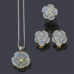 Set of pendant, earrings and ring in the shape of a