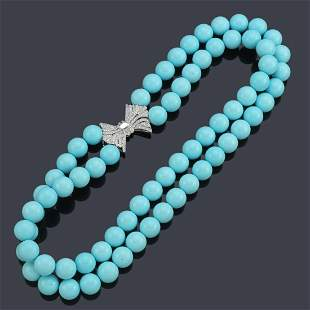 Necklace with two strands of spherical turquoise beads