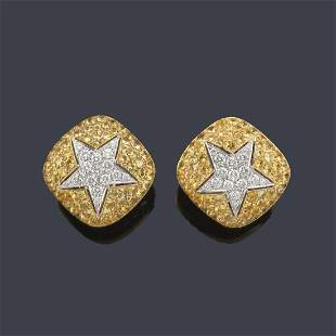Short earrings with a central star-shaped motif with