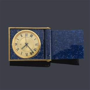 JAEGER LE COULTRE, gold and enamel travel alarm clock