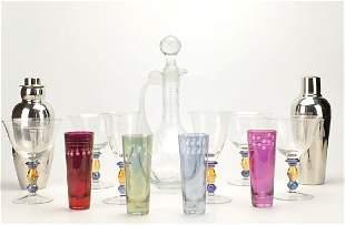 Barware Lot: Decanter, shakers, glasses,Mid C.