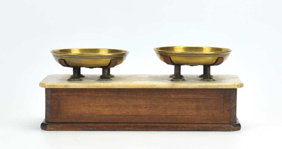 Antique Brass,Marble&Wooden Scale ,English 1870 - 3