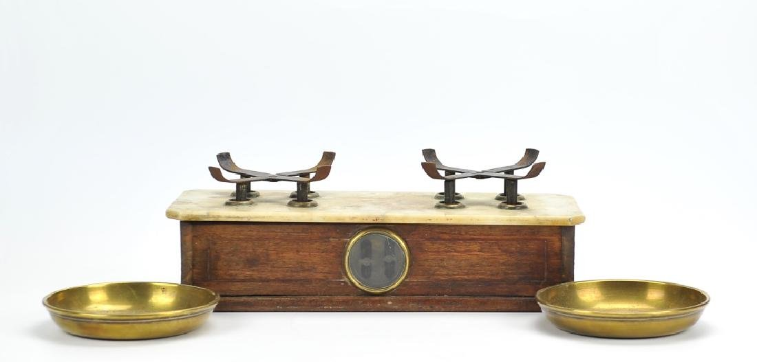 Antique Brass,Marble&Wooden Scale ,English 1870 - 4