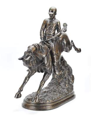 A Large Bronze Of Horse And Jockey20th C