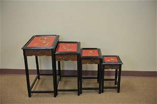 A Set of 4 Lacquer w MOP Nesting Tables20th C