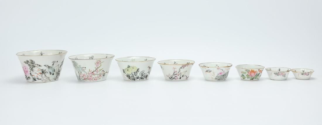Set (8) Chinese Famille Rose Nesting Bowls,19th C.
