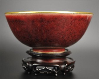 """An Extremely Rare """"Kangxi Langyao"""" Bowl and Stand"""