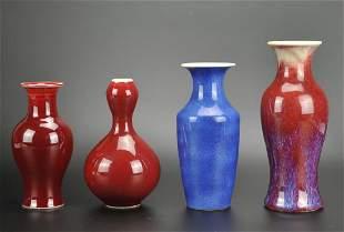 3 Red Glaze Vases w A Blue glaze vase1920th C