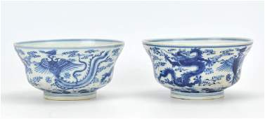 A Pair Of Chinese Blue And White Bowls,20th C