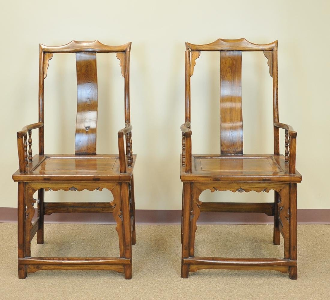 A Pair Of Chinese Elm Wood Armchairs, Late Qing