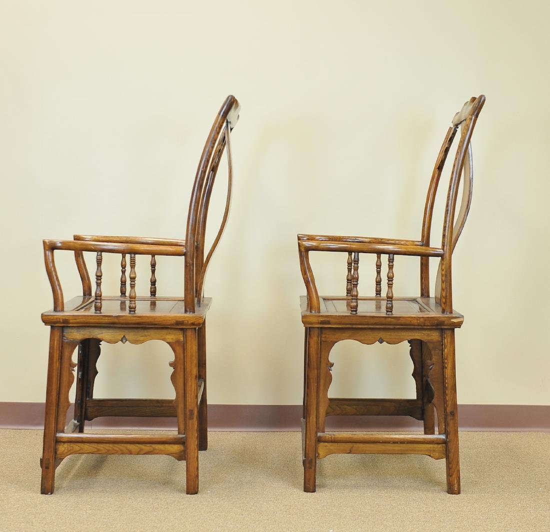 A Pair Of Chinese Elm Wood Armchairs, Late Qing - 2