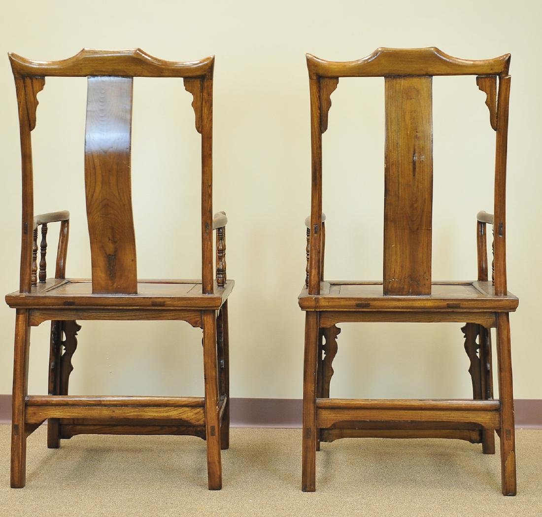 A Pair Of Chinese Elm Wood Armchairs, Late Qing - 3