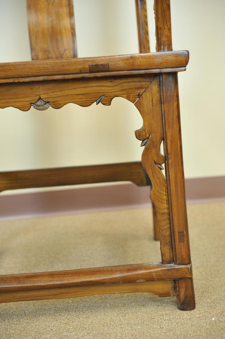 A Pair Of Chinese Elm Wood Armchairs, Late Qing - 4