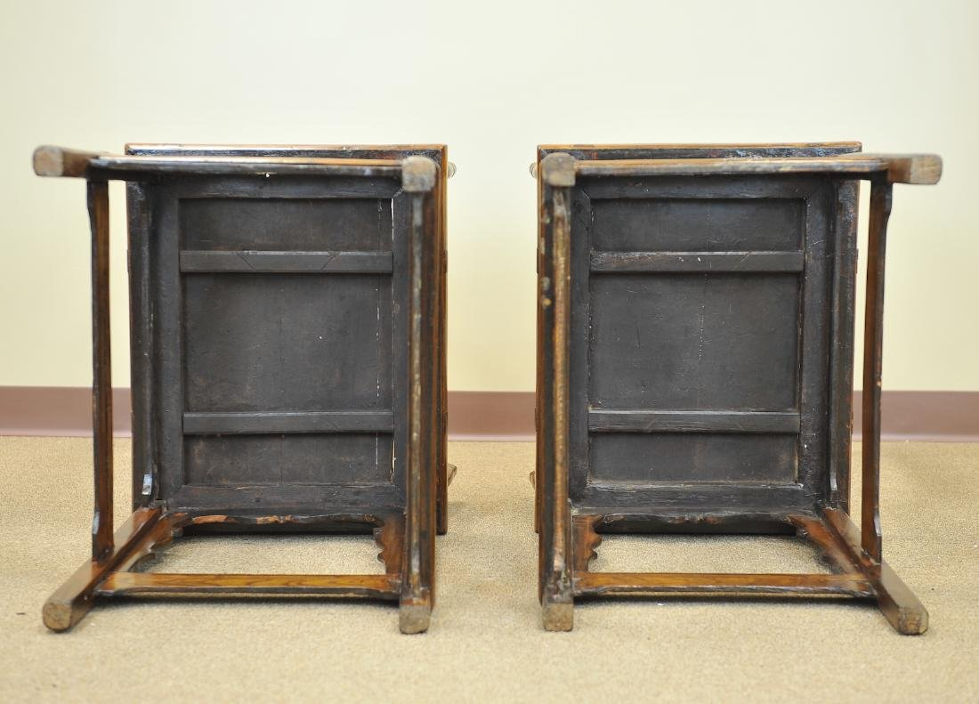 A Pair Of Chinese Elm Wood Armchairs, Late Qing - 5