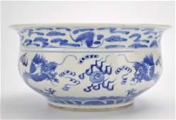 Chinese Blue& White Dragon Censer, 19th C.