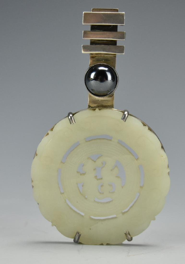 Chinese Jade & Sterling Silver Pendant,Qing D.