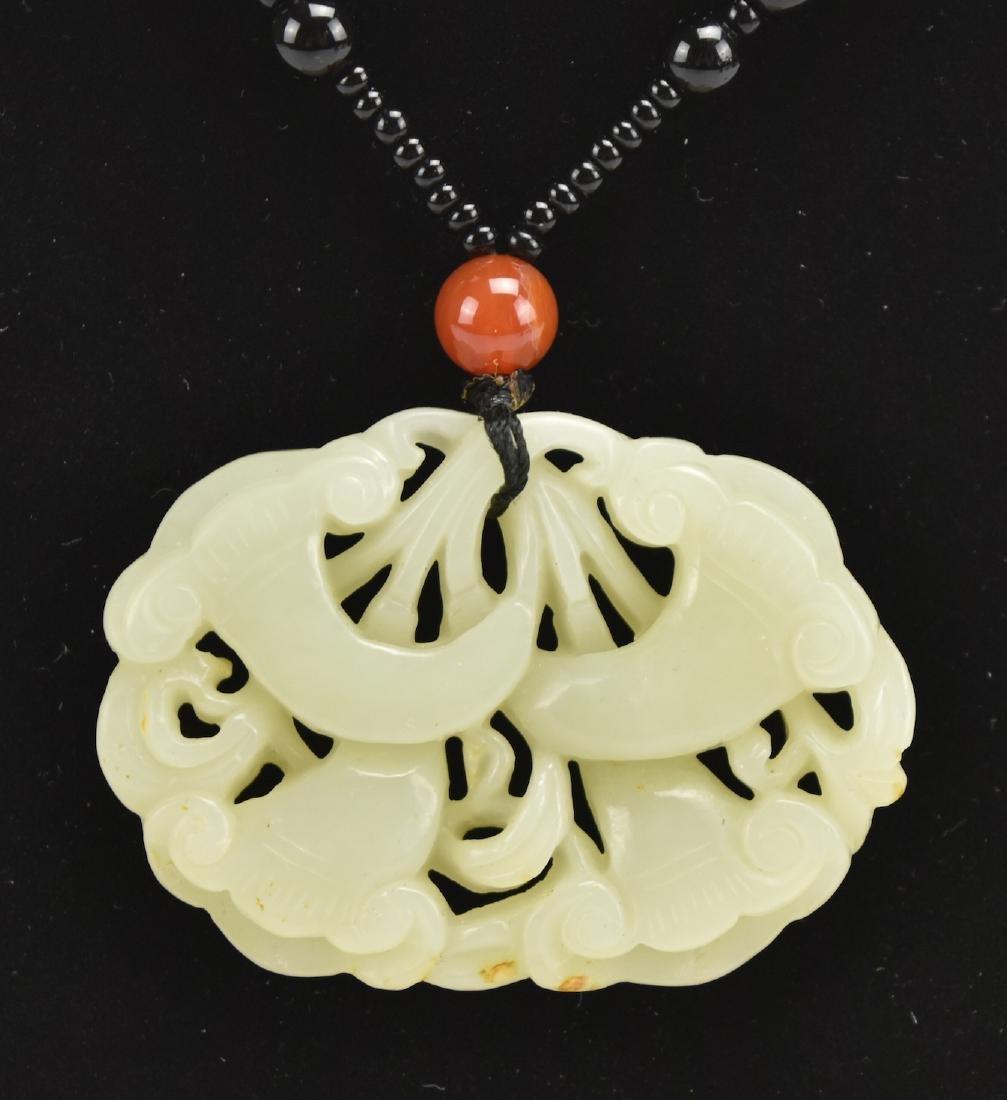White Jade Pendant of Ruyi Heads,19-20th C. - 2