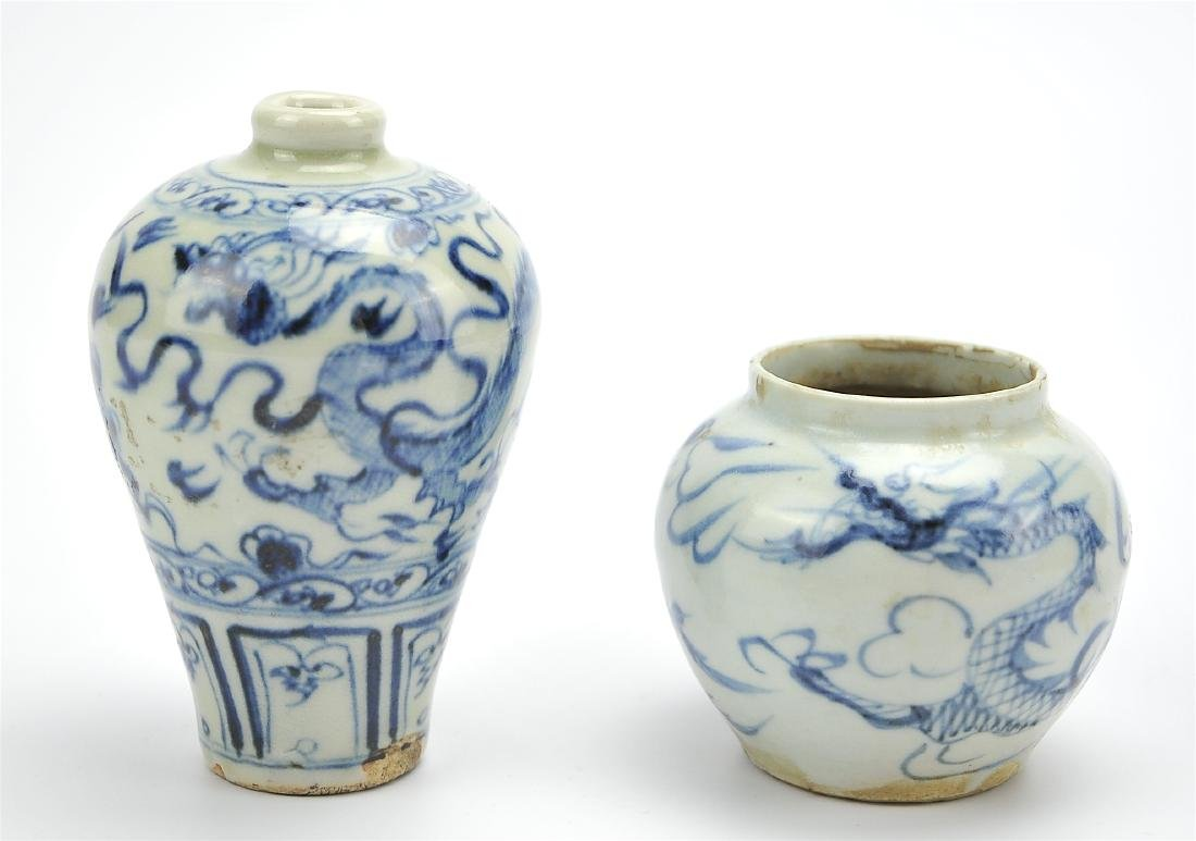 Small Chinese Blue & White Jar and Meiping Vase