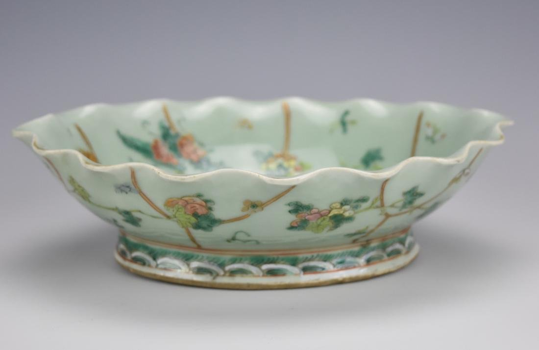 A Scalloped Celadon & Famille Rose Bowl, 19th C.