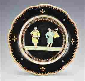 Rare Black-Ground Trumpeter Plate,Qianlong Period
